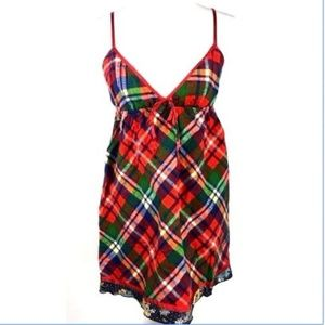 Free people Red Plaid dress Medium cut out back